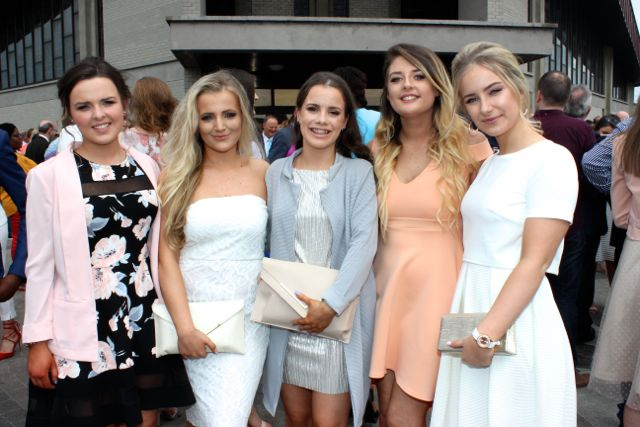 Ciara Moriarty, Shauna O'Sullivan, Rosie Twomey, Ellen Rusk and Sarah Dunworth at the Mercy Mounthawk graduation ceremony at Our Lady and St Brendan's Church on Friday afternoon. Photo by Dermot Crean
