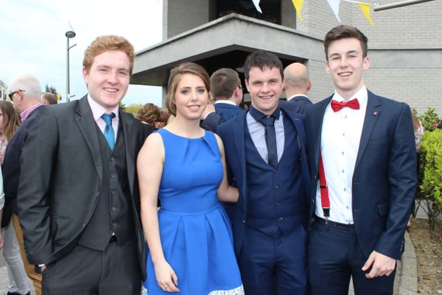 Fergus Busman, Veronica Heaslip, Shane Godley and Liam Kennelly at the Mercy Mounthawk graduation ceremony at Our Lady and St Brendan's Church on Friday afternoon. Photo by Dermot Crean