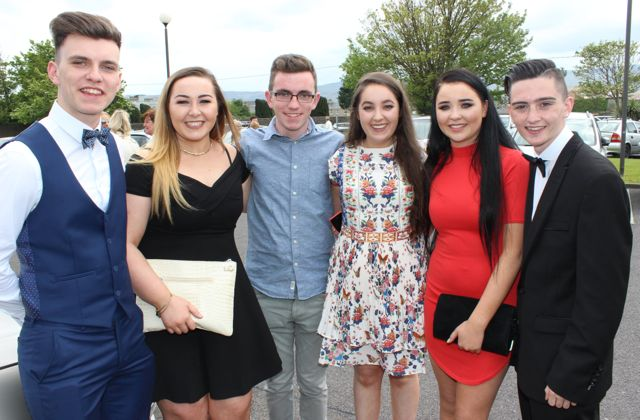Stephen Ahern, Elle Supple, Chris Ahern, Sarah Hartnett, Emma Lonergan and Richard Horgan at the Mercy Mounthawk graduation ceremony at Our Lady and St Brendan's Church on Friday afternoon. Photo by Dermot Crean