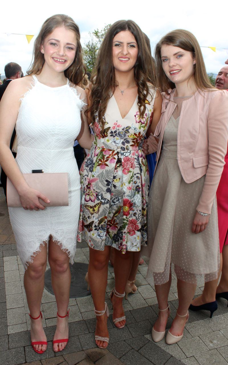 Fiona Kavanagh, Meg Hurley and Sinead O'Mahony at the Mercy Mounthawk graduation ceremony at Our Lady and St Brendan's Church on Friday afternoon. Photo by Dermot Crean