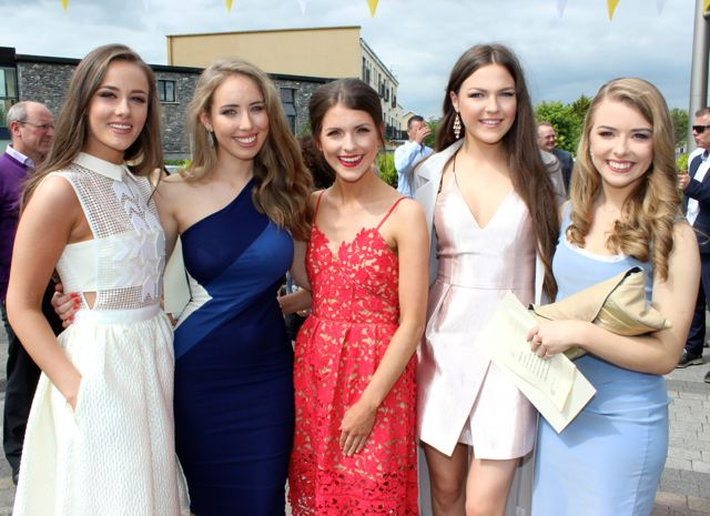 Ciara Murphy, Aoife Leahy, Ellen O'Brien, Lena Harkin and Emer Leahy at the Mercy Mounthawk graduation ceremony at Our Lady and St Brendan's Church on Friday afternoon. Photo by Dermot Crean