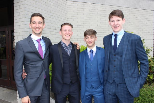Conor Harty, Donagh O Buachalla, Luke Moynihan and Diarmaid O'Sullivan at the Mercy Mounthawk graduation ceremony at Our Lady and St Brendan's Church on Friday afternoon. Photo by Dermot Crean