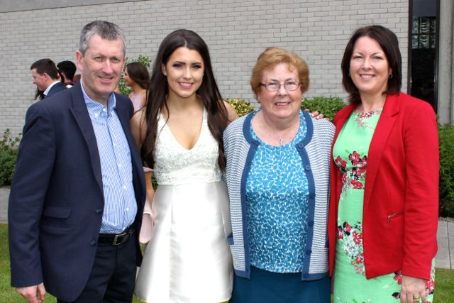Ed Falvey, Sarah Falvey, Bridie Kirby and Noreen Falvey at the Mercy Mounthawk graduation ceremony at Our Lady and St Brendan's Church on Friday afternoon. Photo by Dermot Crean