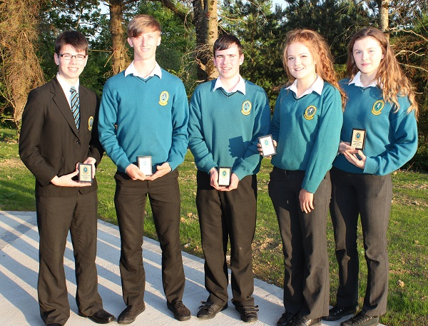 Zach Brosnan, Eoghan O Buicbhalla, Barry Lyons, Katie Ryan and Meagan O'Donnell at the Mercy Mounthawk transition year student awards night. Photo by Gavin O'Connor.