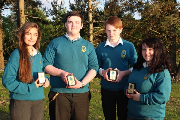 Lauryn Griffin, Sean Trant, Jordan Tearle and Amy Roche at the Mercy Mounthawk transition year student awards night. Photo by Gavin O'Connor.