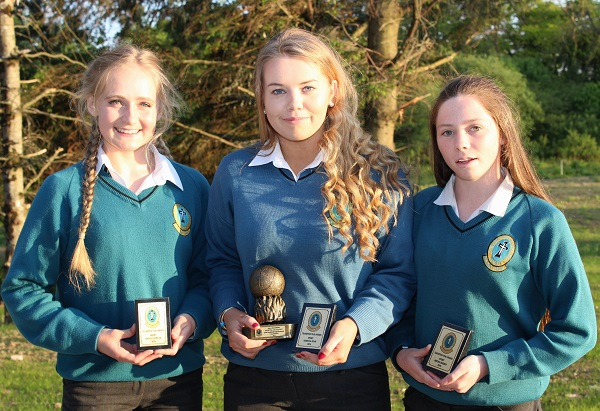 Rachel Bowler, Rebecca Ryan and Meagan Sheehy at the Mercy Mounthawk transition year student awards night. Photo by Gavin O'Connor.