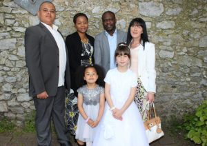 Communion girl Jasmine Conway with Layla Agboola, Toby Agboola, Evangelista Agboola, Esa Agboola and Caroline Conway at the Moyderwell Primary School First Holy Communion Day at St John's Church on Saturday morning. Photo by Dermot Crean