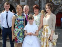 Communion girl Ava O'Connor with Mark, Kim, Pat, Patricia and Emma O'Connor at the Moyderwell Primary School First Holy Communion Day at St John's Church on Saturday morning. Photo by Dermot Crean