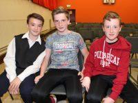 Liam Kingston, Denis Moriarty and Conal Clifford at 'Na Gaeil's Got Talent' at Gaelscoil Mhic Easmainn on Saturday evening. Photo by Dermot Crean