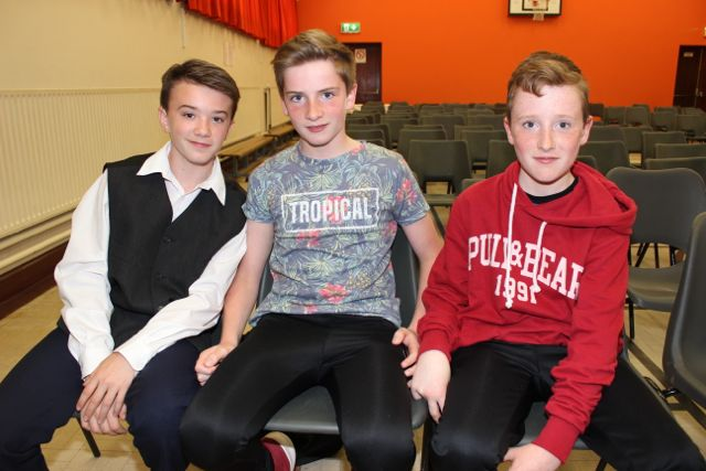 Liam Kingston, Denis Moriarty and Conal Clifford at 'Na Gaeil's Got Talent' at Gaelscoil Mhic Easmainn on Saturday evening. Photo by Dermot Crean