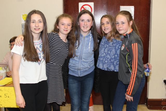 Kayleigh Murphy, Muire Kingston, Orla Sheehy, Eimear Ni Shuilleabhain and Megan Lynch at 'Na Gaeil's Got Talent' at Gaelscoil Mhic Easmainn on Saturday evening. Photo by Dermot Crean
