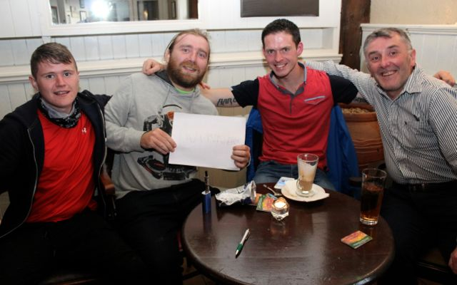 Stephen Hallissey, Brian O'Shea, Tom Foley and Conor Cusack at the table quiz in The Ashe Hotel on Thursday night. Photo by Dermot Crean