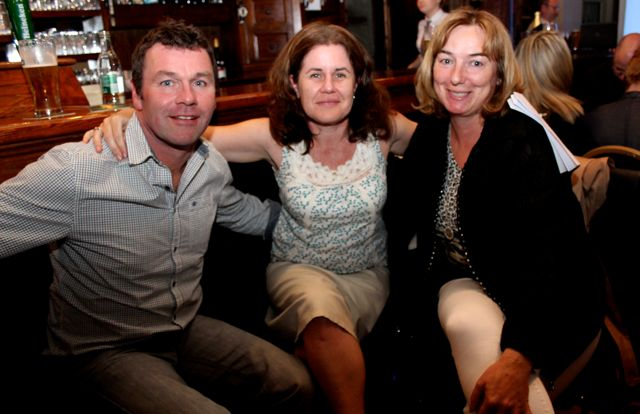Joe and Sandra Dowling and Norma Sheehan at the table quiz in The Ashe Hotel on Thursday night. Photo by Dermot Crean