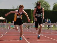 Jamie O'Brien of Mercy Mounthawk with a strong finish to take bronze medal in Minor Hurdles.