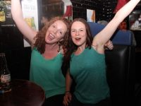 Niamh Blanche and Jane Fleming celebrating Ireland's victory over Italy on Wednesday night in The Blasket. Photo by Dermot Crean