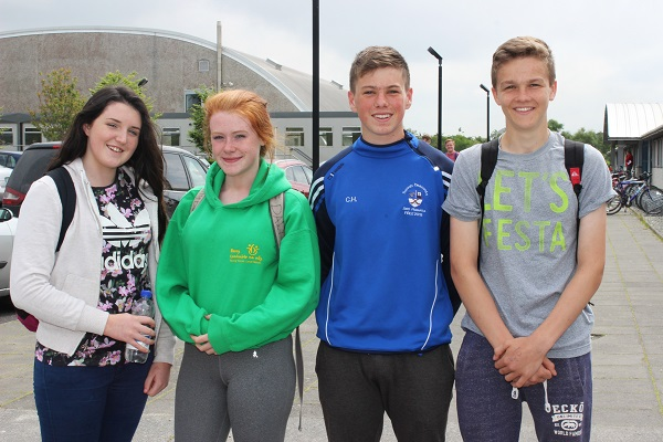Mounthawk students, Maria Daly, Isabelle Bailey, Colm Healy and Cathal Dunne after sitting the first of their Leaving Cert exams. Photo by Gavin O'Connor.
