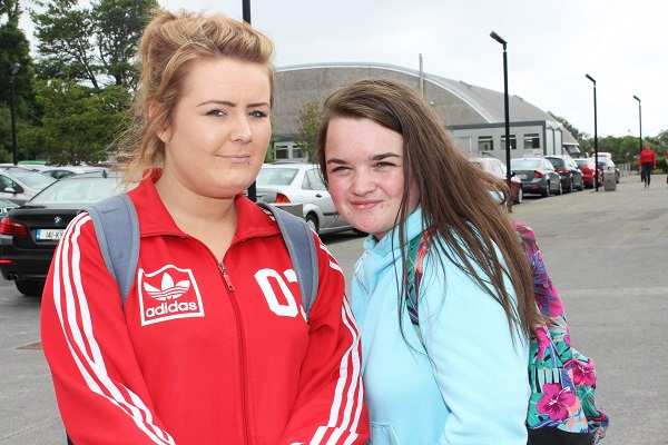 Mouthawk students, Clara O'Sullivan and Shannon Roach after sitting the first of their Junior Cert exams. Photo by Gavin O'Connor.
