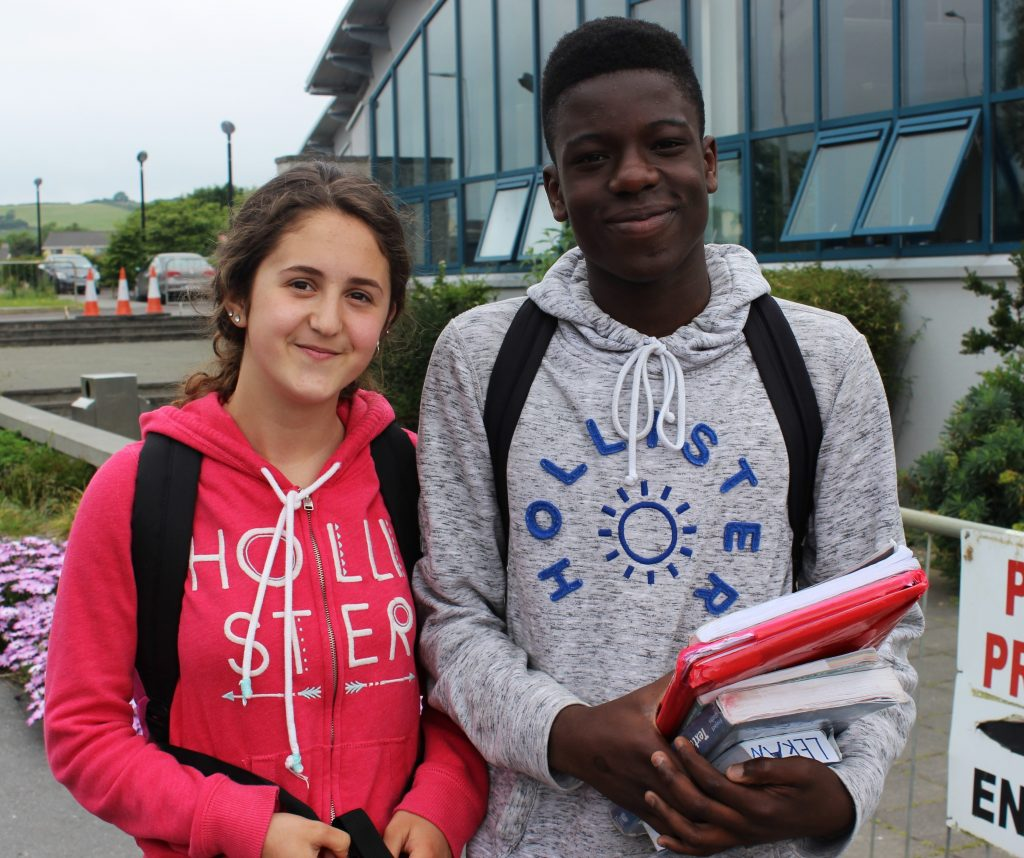 Ori Beqaj and Lekan Adebeuo after sitting the first of their Junior Cert exams. Photo by Gavin O'Connor.