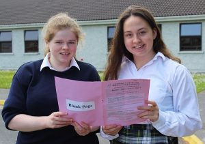 Lesley McCarthy and Danielle Pearse after sitting the first of their Leaving Cert exams. Photo by Gavin O'Connor.