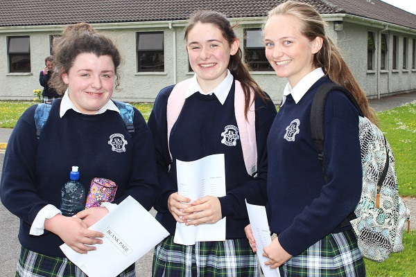 Presentation students, Jordan Quinlivan, Sarah Hoare, Rebecca Poultney after sitting the first of their Junior Cert exams. Photo by Gavin O'Connor.