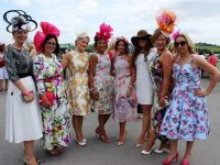 Jean Leahy, Cathy Troth, Anne Marie O'Connor, Siobhain Kennedy, Mary Wolfe, Meagan Hilliard, Eileen Kennedy and Lorraine Donovan at Listowel Racecourse Ladies Day. Photo by Gavin O'Connor.