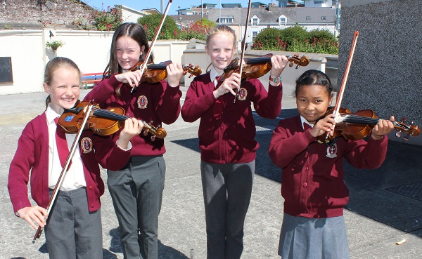 Performing at the Moyderwell National School 'Colour My Strings' concert were from left: Aoibhín O'Connor McCarthy, Mairead McCarthy, Cliodhna McCarthy, Sophia Abdrhnan. Photo by Gavin O'Connor.