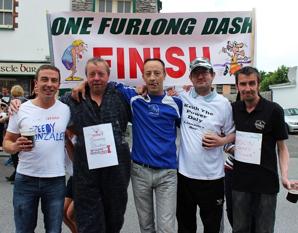 The five competitors in the One Furlong Dash, from left: Niall Phelan, Dominic O'Brien, Joe Donovan, Keith Daly and Martin Lacey. Photo by Gavin O'Connor.