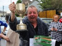 The champ Dominic O'Brien with the One Furlong Dash Perpetual Trophy and his dinner for two. Photo by Gavin O'Connor.