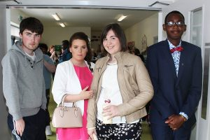 At St Ita's St Joseph's Graduation, Tamara Gleeson, Fiona McCarthy and Tomiwe Cole. Photo by Gavin O'Connor
