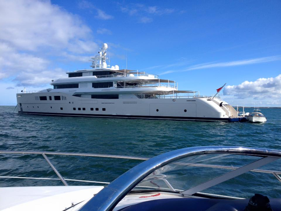 The €119 Million super yacht in Fenit. ‎Photo by Susan de Brún.‎