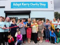 Elaine Kinsella of Radio Kerry officially opens the Adapt Charity Shop. Photo by Gavin O'Connor.
