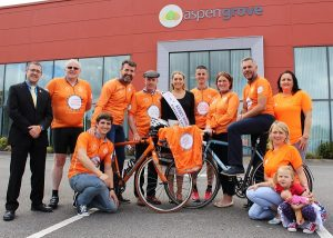 Launching the 'Cycle Against Suicide Tralee Spin Off' were, from left: John Drummey (Rose of Tralee), Kevin Finn (Cycle Against Suicide), Cormac Sertutxa, Jim Breen (Cycle Against Suicide), Deputy Michael Healy Rae, Danielle O'Sullivan (2016 Kerry Rose), Colin Aherne, Grace O'Donnell, Sean Ryan, Clodagh Moynhan, Mags O'Halloran and Charlie Brennan. Photo by Gavin O'Connor.