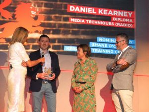Left to right: Louise Minchin (BBC Breakfast), Dan Kearney (FE Learner of the Year), Kirstie Donnelly MBE (Managing Director City & Guilds UK), Shane O'Connor (Radio Kerry Training).