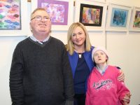 Lawrence Kelly, Maria Griffin and Maura Carmody at the Mount Eagle Lodge, Kerry Parents and Friends Association art exhibition. Photo by Gavin O'Connor.