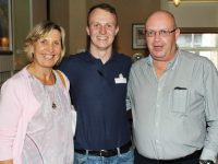 At a table quiz in aid of Stuart Nolan's Rose of Tralee escort costs were, from left: Miriam Mullhall Nolan, Stuart Nolan and John Quirke. Photo by Gavin O'Connor.