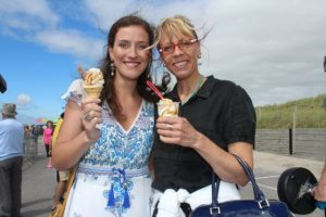 Susan O'Gara and Rebecca Kemp at the Feile Failte at Banna Beach on Saturday. Photo by Dermot Crean