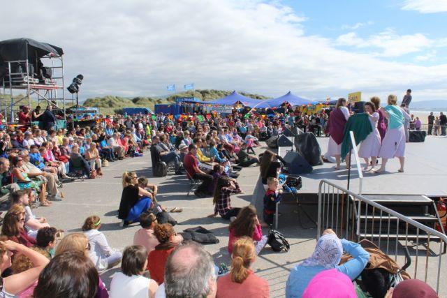 The crowd watching Siamsa Tire performers at the Feile Failte at Banna Beach on Saturday. Photo by Dermot Crean