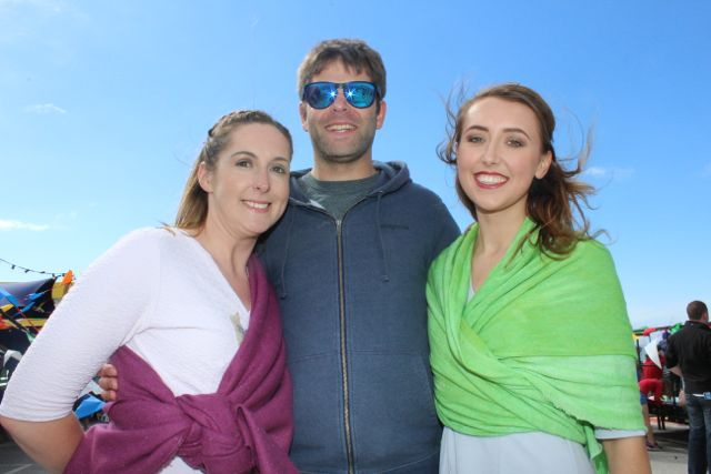 Adrienne Heaslip, Conor O'Donnell and Niamh Hurley, Tralee, at the Feile Failte at Banna Beach on Saturday. Photo by Dermot Crean