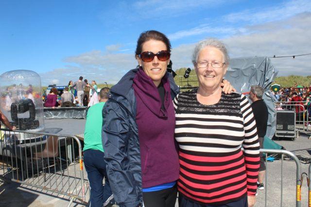 Geraldine Scully and Imelda Harrington at the Feile Failte at Banna Beach on Saturday. Photo by Dermot Crean