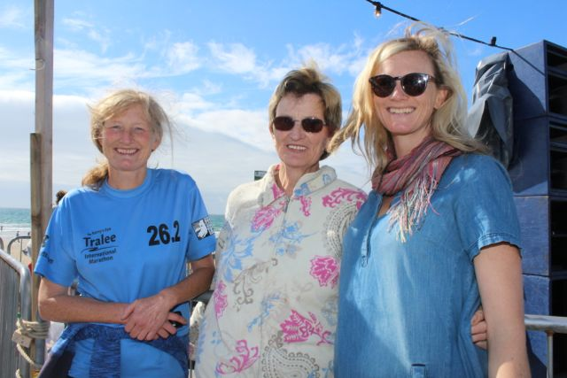 Marian McElligott, Bridie McElligott and Deirdre McElligott, Lixnaw, at the Feile Failte at Banna Beach on Saturday. Photo by Dermot Crean