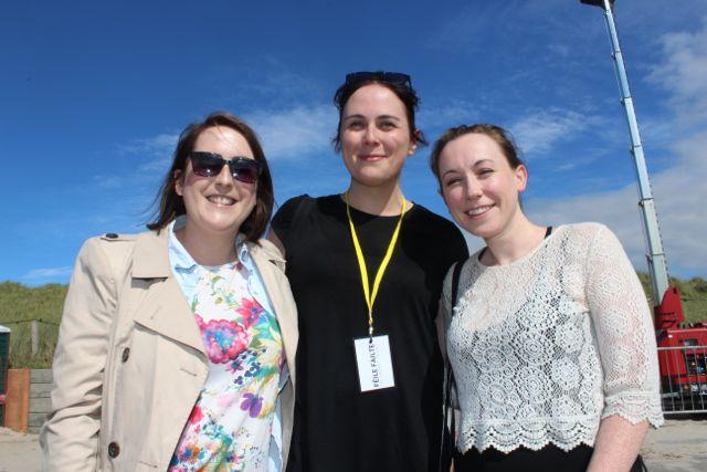 Catriona Behan, Tralee, Kate O'Sullivan of Feile Failte, and Laura Crean, Tralee at the Feile Failte at Banna Beach on Saturday. Photo by Dermot Crean