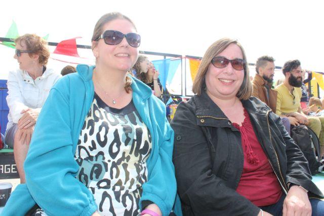 Claire Ritchie and Fran Henderson, Scotland, at the Feile Failte at Banna Beach on Saturday. Photo by Dermot Crean