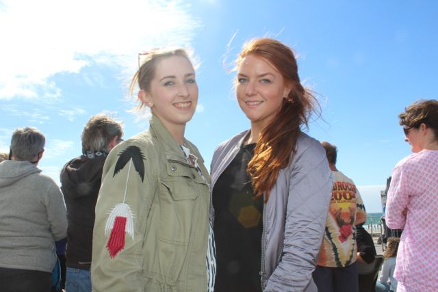 Aileen Peevers and Charlotte McGuire, Tralee, at the Feile Failte at Banna Beach on Saturday. Photo by Dermot Crean