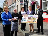 Launching the Tralee Dining Guide were, from left: Nuala Dawson (Dawsons Restuarant), Michael McDonald (Denny Lane), Christina Dureke (Tralee Chamber Alliance), Trina Hoolihan  (Tralee Chamber Alliance), and John Drummey  (Tralee Chamber Alliance). Photo by Gavin O'Connor.