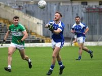 Barry John Keane lays off a pass as James O'Donoghue looks on in the Killarney Legion v Kerins O'Rahillys game on Sunday. Photo by Dermot Crean