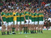 Kerry line up for the national anthem before the Munster Final.  Photo by Dermot Crean.