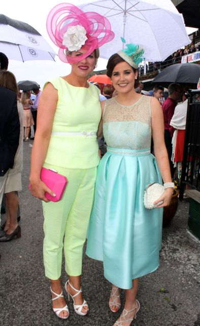 Diane Jeffers of Jasmine Boutique and Alison Moran a finalist at the Dawn Milk Ladies Day at Killarney Races on Thursday. Photo by Dermot Crean