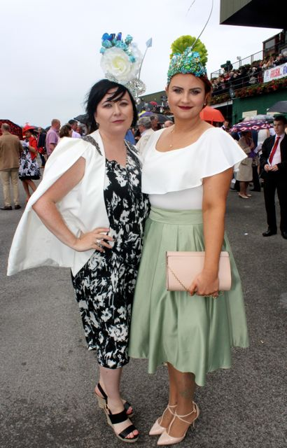 Rebekah Wall and Ann Marie Dowling, Tralee, at the Dawn Milk Ladies Day at Killarney Races on Thursday. Photo by Dermot Crean
