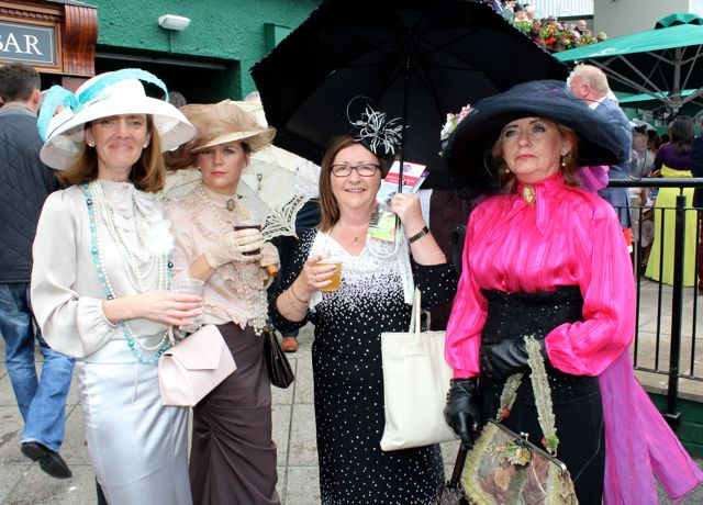 Wearing fashions from the early 20th century were Mary 'Constance' Kelliher, Teresa 'Abigail' O'Brien, Marie 'Marietta' O'Brien and Maureen 'Penelope' Fleming, Tralee, at the Dawn Milk Ladies Day at Killarney Races on Thursday. Photo by Dermot Crean