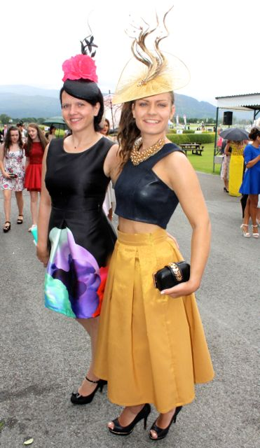 Reelika Ollo and Marie Salova at the Dawn Milk Ladies Day at Killarney Races on Thursday. Photo by Dermot Crean